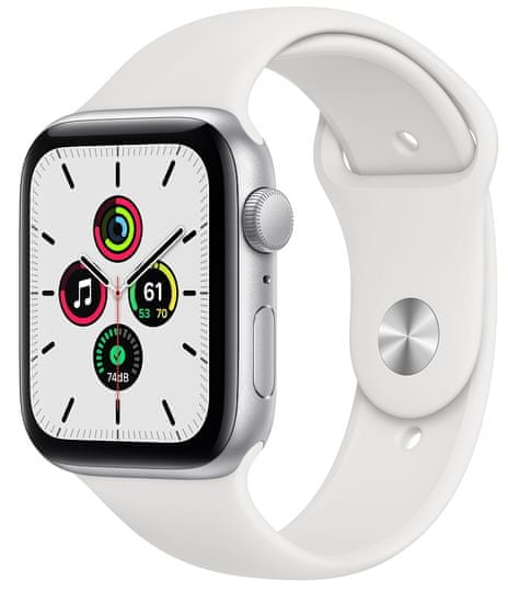 Apple Watch SE , 44mm Silver Aluminium Case with White Sport Band (MYDQ2HC/A)