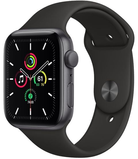 Apple Watch SE, 44mm Space Gray Aluminium Case with Black Sport Band (MYDT2HC/A)