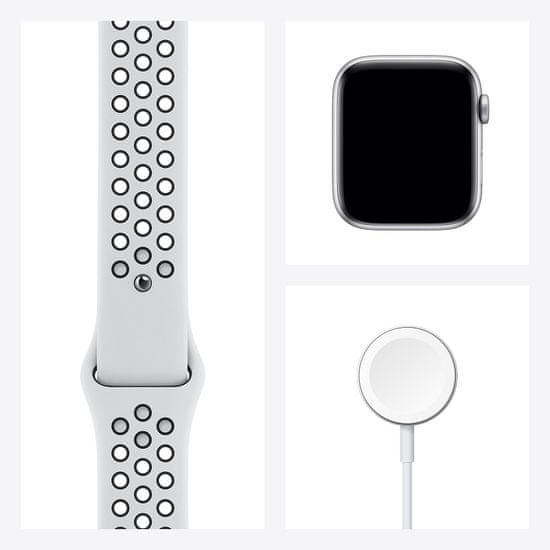 Apple Watch Nike Series 6, 44mm Silver Aluminium Case with Pure Platinum/Black Sport Band (MG293HC/A)