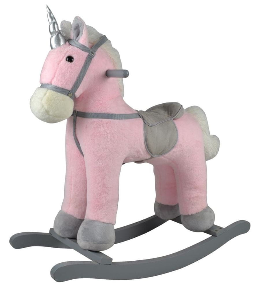 Teddies Kůň houpací růžový jednorožec plyš na baterie