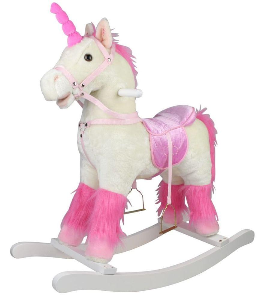 Teddies Kůň houpací bílý plyš na baterie se zvukem a pohybem