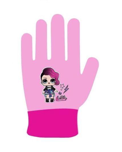 "Eplusm Dekliške prstne rokavice ""LOL"" - roza"