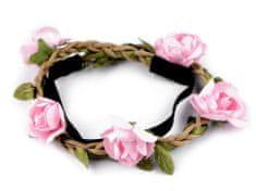 Kraftika 1ks růžová sv. pružná čelenka do vlasů s růžemi, čelenky