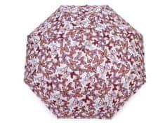 Kraftika 1ks bordó dámský mini skládací deštník motýl