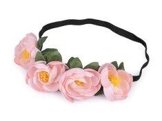 Kraftika 1ks růžová nejsv. pružná čelenka do vlasů s květy
