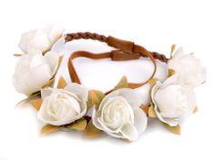 Kraftika 1ks bílá pružná čelenka do vlasů s květy