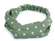 Kraftika 1ks zelená khaki látková čelenka pin-up překřížená s