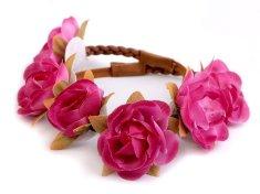Kraftika 1ks růžová ostrá pružná čelenka do vlasů s květy