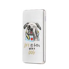 hoco. J13 6957531073987 10 000 mAh powerbank Life is better with a dog Biela