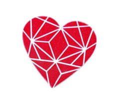 Kraftika 1ks pink srdce dřevěná brož srdce, pírko, dřevěné