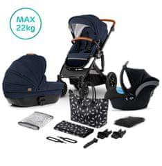 KinderKraft Prime 2020 3v1 otroški voziček z avtosedežem in dodatki, deep navy + materinska torba