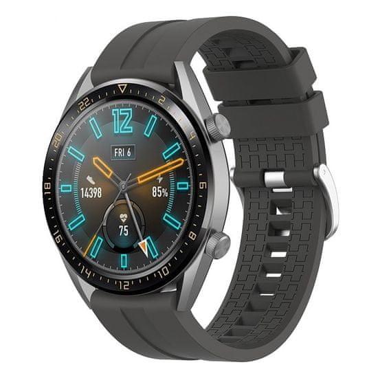 BStrap Huawei Watch GT 42mm Silicone Cube pašček, Dark Gray