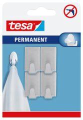 Tesa Permanent trvalé, obdĺžnikové, kovové samolepiace háčiky do kuchyne na zavesenie ľahkých vecí, montáž bez vŕtania, veľ. S, 4ks