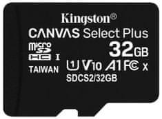 Kingston 32GB Canvas Select plus micro SDHC karta/ UHS-I CL10 bez SD adaptéra