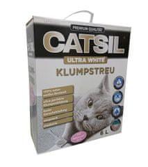 Catsil mačji pijesak, ultra bijeli, ljepljiv, s mirisom pudera za bebe, 6 L