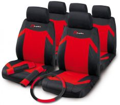 Bottari Indy komplet prevlek za sedeže, 12 kosov, rdeče-črn
