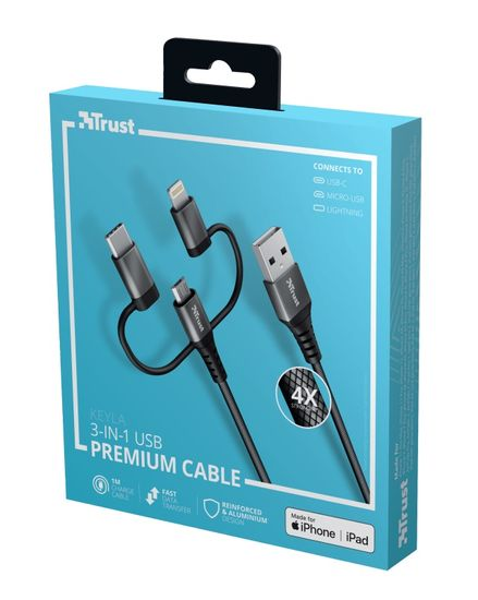 Trust przewód Keyla Extra-Strong 3-In-1 USB Cable 1m 23572