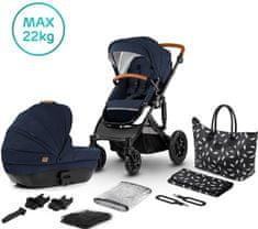 KinderKraft PRIME 2020 2v1 otroški voziček z dodatki, deep navy + materinska torba 2020
