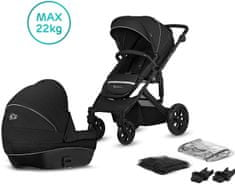 KinderKraft Prime Lite 2in1 2020 otroški voziček, črn