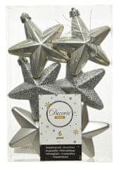 Kaemingk Set plastových ozdob Hvězda, šedá, 6 ks