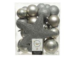 Kaemingk komplet plastičnih okraskov s špico, siv, 33 kosov