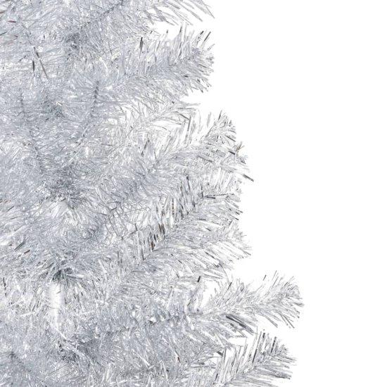 shumee Sztuczna choinka ze stojakiem, srebrna, 210 cm, PET