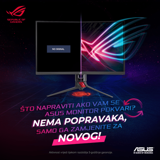 "Asus LED gaming monitor ROG STRIX XG27VQ, 68,4 cm (27"") - Odprta embalaža"
