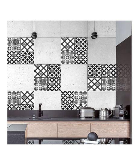 Crearreda Tile Cover Black & White Azulejos 31222 Kachlík, černo-bílé ornamenty