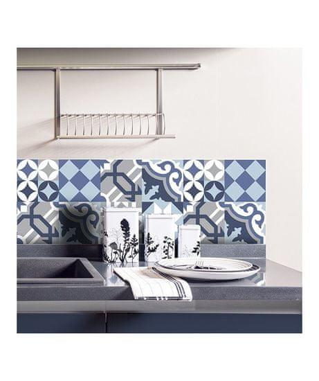 Crearreda Tile Cover Grey & Blue 31220 Kachlík, šedo-modro-bílé ornamenty