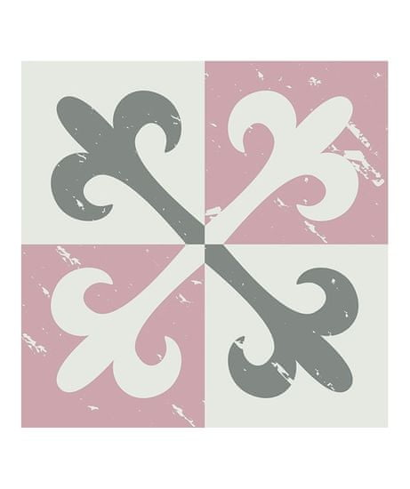 Crearreda Tile Cover Pink 31224 Kachlík, růžovo-šedo-bílé ornamenty
