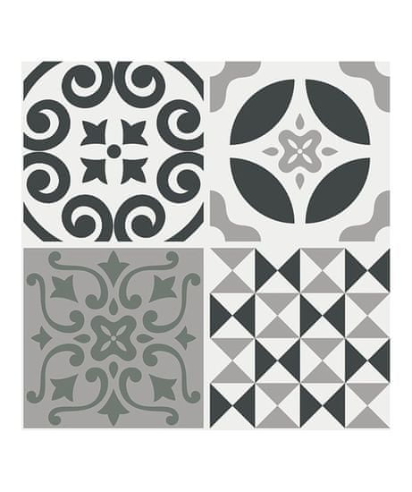 Crearreda Tile Cover Brown 31219 Kachlík, hnědo-bílé ornamenty