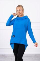 Kesi Mikina s dlouhými zády a kapucí, modrá, velikost Universal