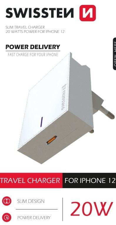 SWISSTEN Síťový adaptér PD 20 W pro iPhone 12, bílý 22050600