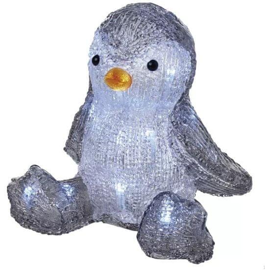 Emos LED božični pingvin, 20 cm, 3× AA, notranji, hladno bel, časovnik