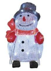 Emos LED božični snežak, 28 cm, na prostem, hladno bela, časovnik