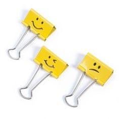 """RAPESCO Klipy na dokumenty """"Emoji"""", žlutá, 19 mm"""