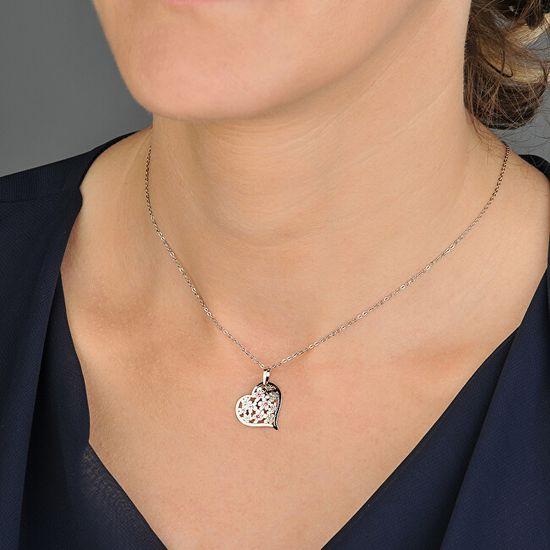 Praqia Ezüst nyaklánc kristályokkalFlowering Heart KO5027_BR030_49_RH (lánc, medál) ezüst 925/1000