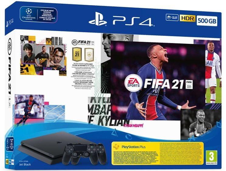 Sony PlayStation 4 Slim - 500 GB + FIFA 21 + 2× DualShock 4 (PS719831129)