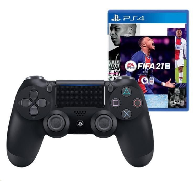 Sony PS4 Dualshock 4 black V2 + FIFA 21 (PS719834724)
