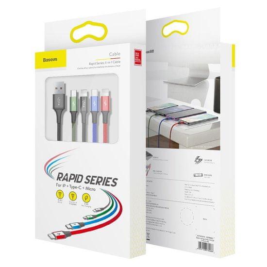 BASEUS Rapid kabel USB / 2x Lightning / USB-C / Micro USB 3.5A 1.2m, černý