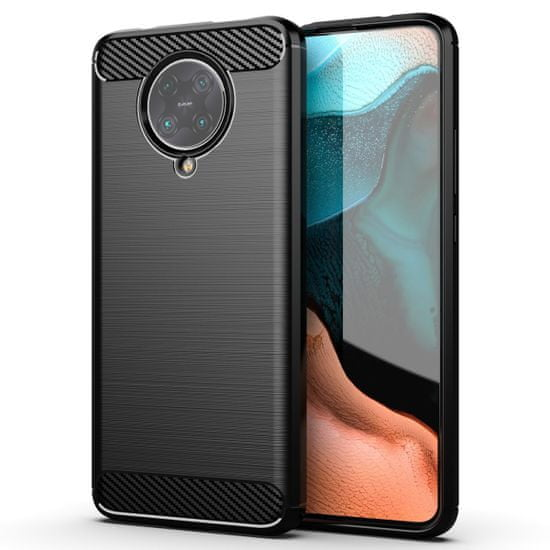 MG Carbon Case Flexible silikonski ovitek za Xiaomi Redmi K30 Pro / Poco F2 Pro, črna