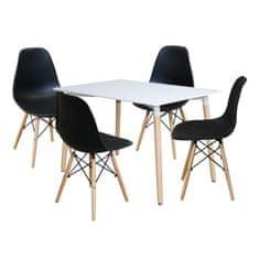 IDEA Idea nábytek Jídelní stůl 120x80 UNO bílý + 4 židle UNO černé