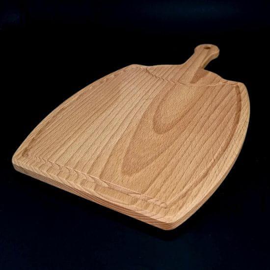 AMADEA Dřevěné prkénko s drážkou ve tvaru sudu, masivní dřevo, 36x21x1,5 cm