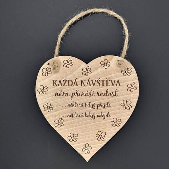 AMADEA Dřevěné srdce s textem Každá návštěva.., masivní dřevo, 16 x 15 cm