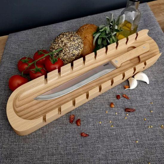AMADEA Dřevěné prkénko na bagety s nožem, masivní dřevo, 41x9x3 cm