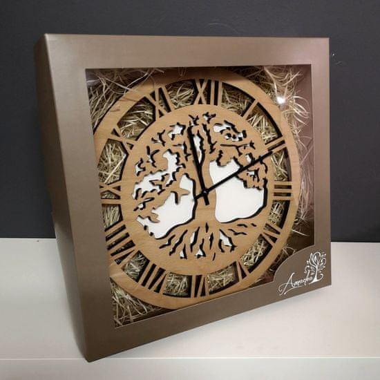 AMADEA Dřevěné hodiny nástěnné kulaté, motiv stromu s kořeny, masivní dřevo, průměr 29 cm