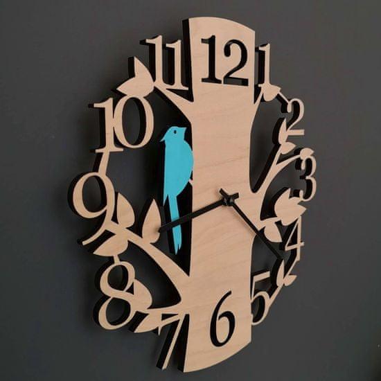AMADEA Dřevěné hodiny nástěnné ve tvaru stromu s modrým ptáčkem, masivní dřevo, průměr 30 cm