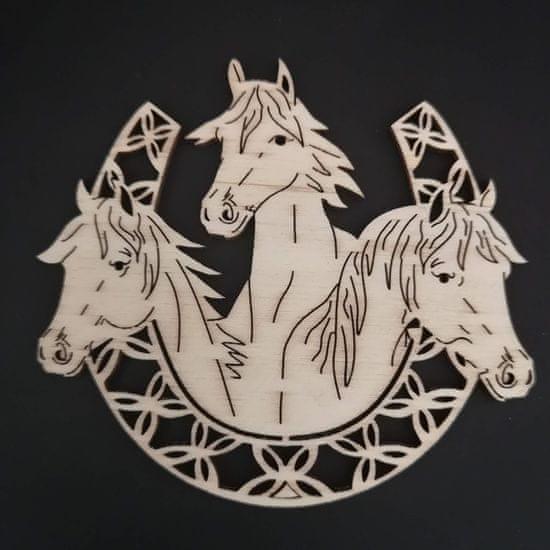 AMADEA Dřevěná ozdoba koně v podkově 10 cm