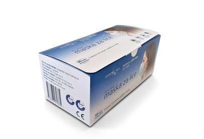 Hygiene4You tip IIR medicinska maska za usta in nos, modra, 3-slojna, z elastiko, 50 kos