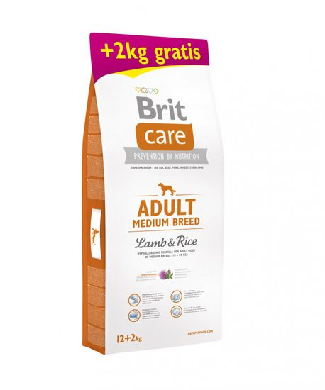 Brit Brit Care Adult briketi za pse, z jagnjetino in rižem, 12 + 2 kg